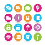 Web icons. Set of 16 web icons on colorful buttons stock illustration