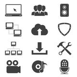 Web icons. Set of different black and white sillhouette web icons, network, video, comunity, cloud servise, downloads, audio, antivirus, support, radio Royalty Free Stock Image