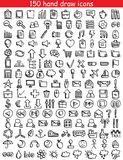 Web Icons. Set of 150 drawing icons for web and mobile. Vector illustration Royalty Free Stock Photos