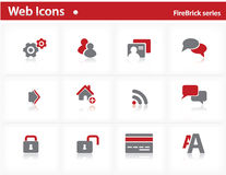 Web icons set - FireBrick series Stock Photos