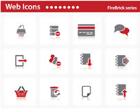 Web icons set - FireBrick series Stock Image