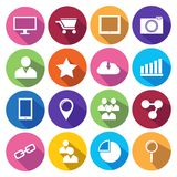 Web Icons Set in Flat Design Stock Images