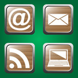 Web icons set. On the green background. Vector illustration Stock Photography