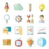 Web icons. Set of 16 internet and web icons flat style Stock Photography