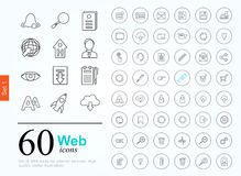 60 web icons. Set of web icons for internet services. 60 line icons high quality, vector illustration Stock Image