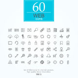 60 web icons. Set of web icons for internet services. 60 line icons high quality, vector illustration royalty free illustration