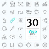 30 web icons. Set of web icons for internet services. 30 line icons high quality, vector illustration Stock Photography