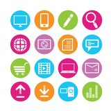 Web icons set. Set of 16 media icons in colorful buttons Stock Photography