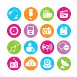 Web icons set. Set of 16 media icons in colorful buttons Royalty Free Stock Photos