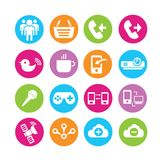 Web icons set. Set of 16 media icons in colorful buttons stock illustration