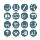 Web icons. Set of 16 web and network icons, round buttons Stock Image