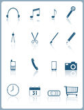 Web icons. Set of 16 web icons and pictograms with reflection royalty free illustration