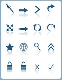 Web icons. Set of 16 web icons and pictograms with reflection Stock Images