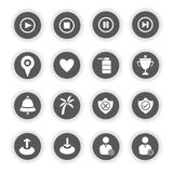 Web icons. Set of 16 web icons, round buttons Stock Photography