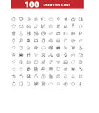 100 web icons set, signs,  illustration. 100 web  icons set, signs  illustration Stock Images