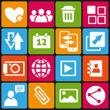 Web icons set. Set of 16 web and social media icons Stock Photo