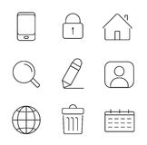 Web icons set. Thin lines simple design Stock Image