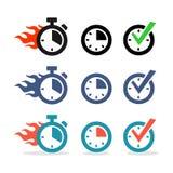 Web icons set. Time, stopwatch, clock Stock Photo