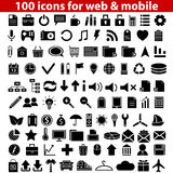Web Icons. Set of 100 universal icons for web and mobile. Vector illustration Stock Photo