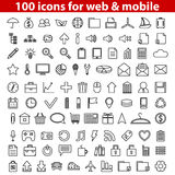 Web Icons. Set of 100 universal icons for web and mobile. Vector illustration Stock Image