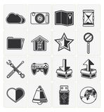 Web icons set. Vector web icons set 16 black color Royalty Free Stock Photo