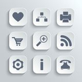 Web icons set - vector white app buttons Stock Images