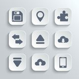 Web icons set - vector white app buttons Royalty Free Stock Photography