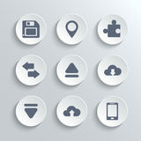 Web icons set - vector white round buttons Royalty Free Stock Photography