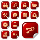 Web icons on sticker buttons 3 Stock Photography