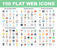 Web Icons. Vector set of 150 flat web icons on following themes - SEO and development, creative process, business and finance, office and business, security and Royalty Free Stock Photo