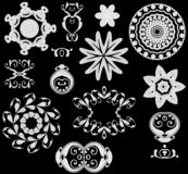 Web Icons White on Black. A collection of 12 decorative digital art design elements, buttons, accents and icons with swirl, circle, flower, jewelry and star stock illustration