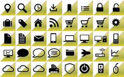 Web icons. Yellow web icons in squares stock illustration
