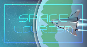 Web illustration Space tourism. Spaceship. Stock Images