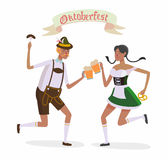 Web. Illustration in vector about traditional beer festival in German. Octoberfest concept. Flat design cartoon illustration with man and woman dancing and drink Royalty Free Stock Images