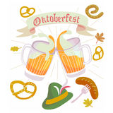 Web. Illustration in vector about traditional beer festival in German. Octoberfest concept. Flat design cartoon illustration with man and woman dancing and drink Royalty Free Stock Image