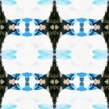 Web inconsútil tribal moderno azul del modelo de Ikat Imagen de archivo