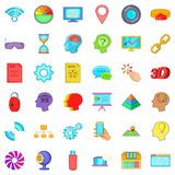 Web information icons set, cartoon style Royalty Free Stock Image