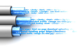 Web information transfer. 3d illustration of cables with web page information text inside Stock Images