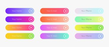 Web buttons flat design template. Web inputs flat design template with color gradient and thin line outline style. Vector isolated rectangular rounded web page stock illustration