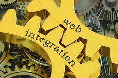 Web integration concept on the gearwheels, 3D rendering Stock Images