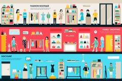 Web interior del concepto de la tienda plana de los cuartos del centro comercial y del boutique La moda viste la compra de la ven libre illustration
