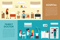 A Web interior do conceito do hospital liso do hospital e do médico de família vector a ilustração Doutor, enfermeira, paciente,  Foto de Stock Royalty Free