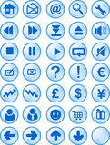 Web and internet button. A set of common used web button (35 button - blue version Stock Photography