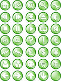 Web and internet button. A set of common used web button (35 button - green version Royalty Free Stock Photos