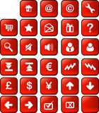 Web and internet button. A set of common used web button (29 button - red version Royalty Free Stock Images