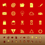 Web and internet color icons on red background Stock Image