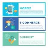 Web internet development illustration set. Mobile, e-commerce and technical support. Stylish design elements or icons on colored background. Vector modern vector illustration