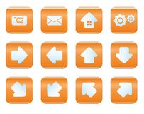 Web and internet icon set. Orange color Royalty Free Stock Photos