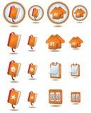 Web and internet icon set. Orange color Stock Image