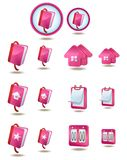 Web and internet icon set. Pink color Royalty Free Stock Photos